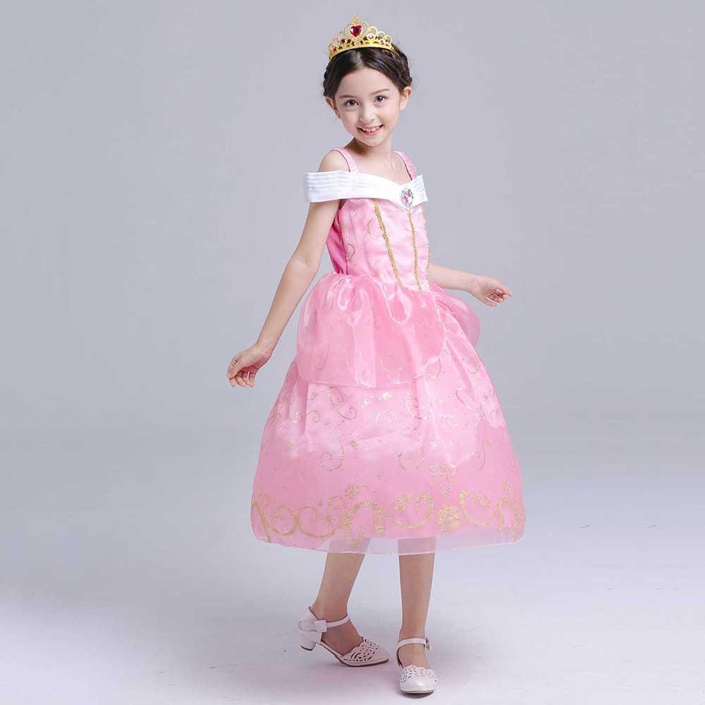 Kids Princess Costume Girls Fairy-tale Dress Up Belle Cinderella Aurora Rapunzel