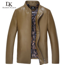 Dusen Klein Brand men's leather jacket Designer motorcycle Slim style Quality leather men leisure coats 61N662