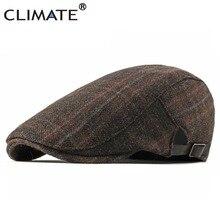 Климат мужской берет клетчатая шляпа мужская берет в стиле винтаж для мужчин повседневный клетчатый берет Ретро шерстяная плоская шапка утолщенная теплая шапка s берет