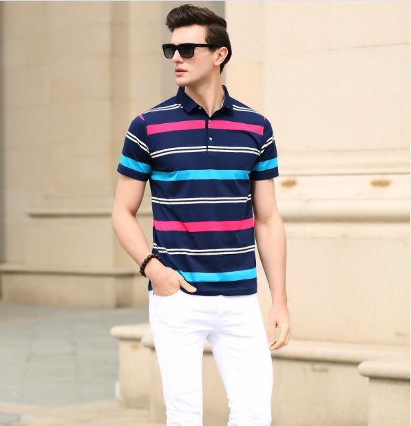 2016 Новых людей прибытия летняя мода классические полосы с коротким рукавом рубашки поло