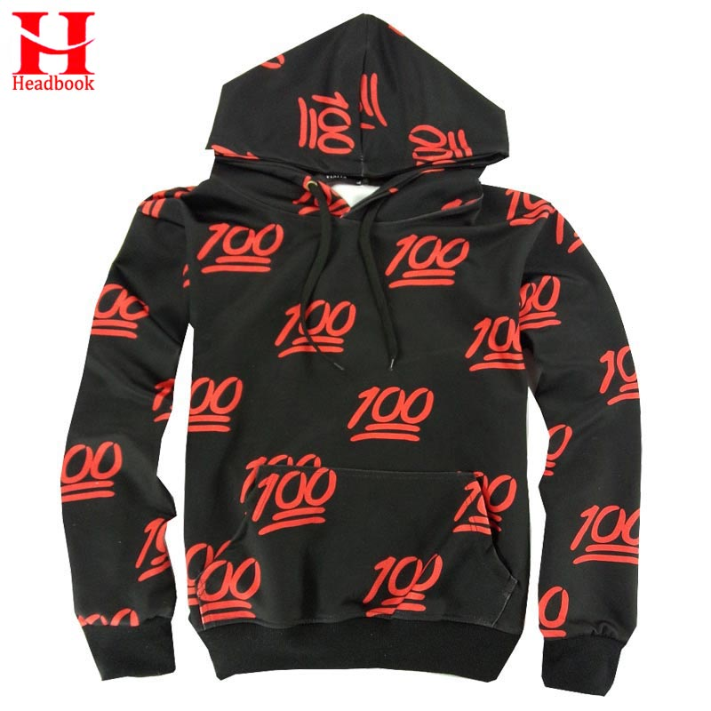2017 Headbook Emoji Hoodies 100 Points 3d Sweatshirt Men women Hooded Hoodies With Front Pocket Casual