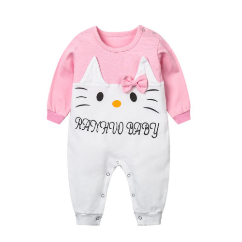Pudcoco Cute Kids Baby Girls Toddler Long Sleeve Romper Lovely Cat Jumpsuit Patchwork Winter Cotton Clothes Outfits