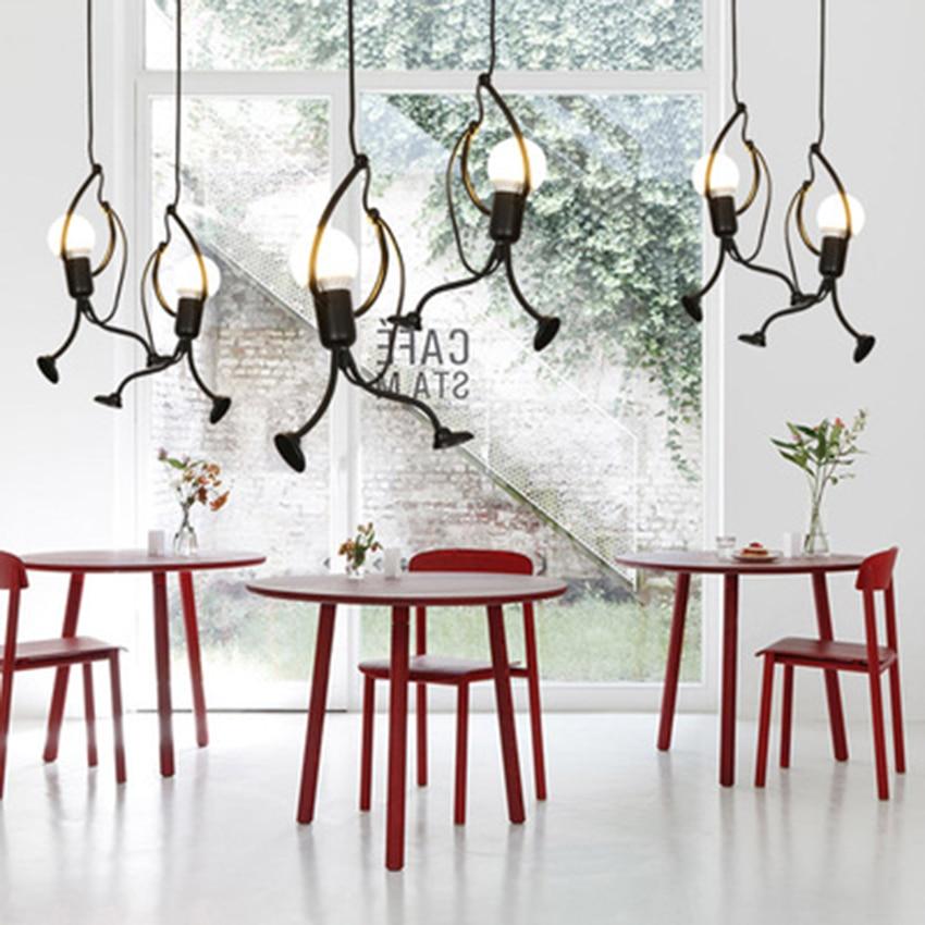 Nordic Small Black Iron People Lamp Modern Art Children Room Cartoon Deco Pendant Lights Restaurant Indoor Lighting Hanging Lamp
