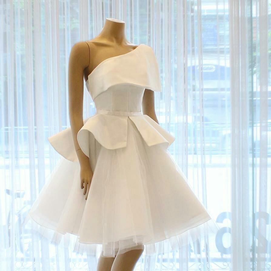 Cocktail     Dresses   White Plus Size Short Evening Prom   Dress   2019