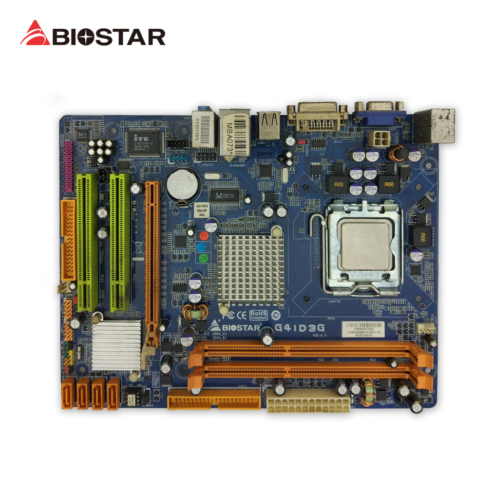 BIOSTAR G41D3G 6.x Original Used Desktop Motherboard G41 LGA 775 DDR3 4G SATA2 USB2.0 Micro ATX biostar h110mds2 pro d4 1151 h110 motherboard support g4560 i3 7100 micro atx desktop computer motherboard solid state capacitor