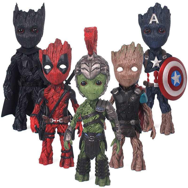 18cm NEW Tree Man Action Figures Deadpool American Captain Hulk Thor Batman Guardians Grooted Cosplay Gift Toys for Children