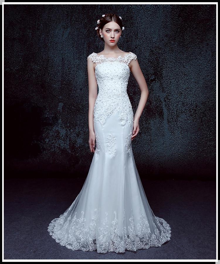 Long Tail Wedding Dresses Cap Sleeve Ivory Tulle Italian