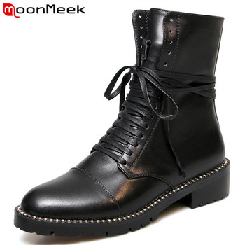 MoonMeek 2020 genuine leather boots round toe zip autumn winter ankle boots women cross tied ladies motorcycles boots big size