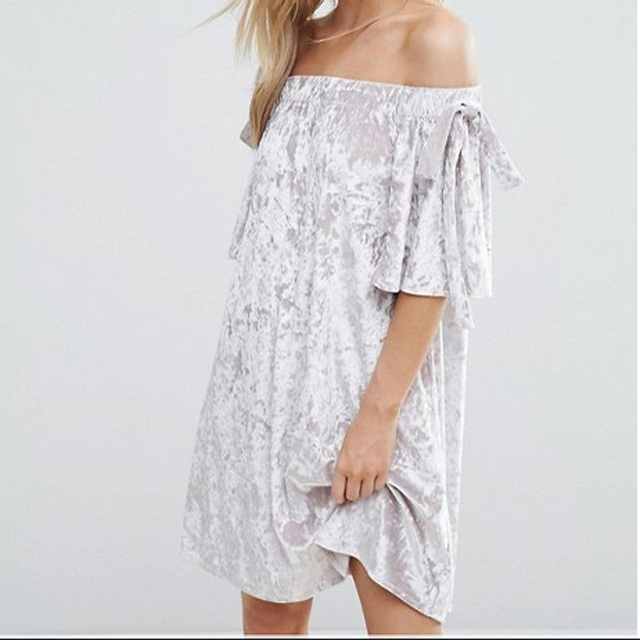 76c4d5385c83 Summer New Vintage Velvet Dress Women Slash Neck Short Sleeve Off Shoulder Loose  Dresses Silver Flare Sleeve Party Fashion Dress