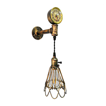 Vintage wrought iron water pipe Birdcage wall lamp personalized Creative decoration with clock Light for Restaurant Bar