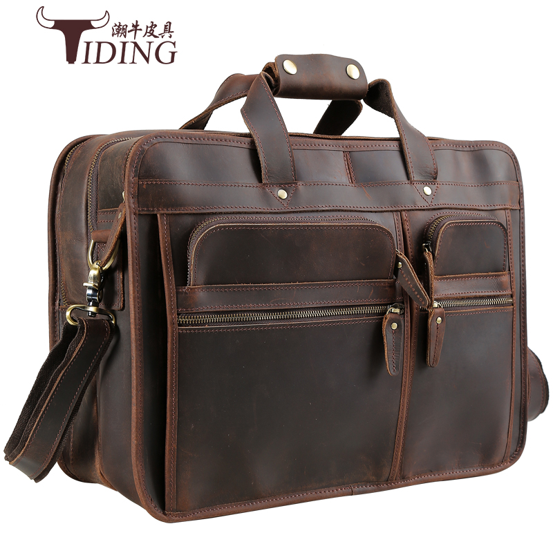 european and american business travel large bags man Crazy horse leather 17 laptop handbags briefcase brand extra large bags
