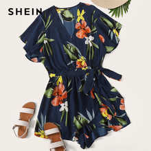 SHEIN Plus Size Navy Surplice Wrap Belted Floral Print Deep V Neck Romper 2019 Women Summer Boho Butterfly Sleeve Knot Playsuit - DISCOUNT ITEM  45% OFF All Category