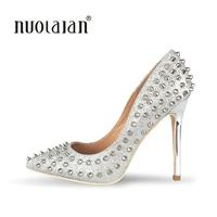 New Women Pumps Pointed Toe High Heels Shoes Luxury Designer Rivets Shoes Wedding Bridal Shoes Women
