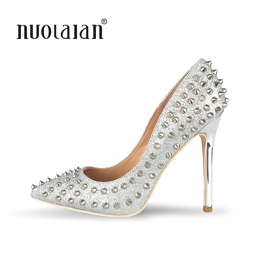 New Women Pumps Pointed Toe High Heels Shoes Luxury Designer Rivets Shoes Wedding Bridal Shoes Womens Shoes With Heels