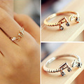 2016 New Hot Fashion Cheap Good Quality Adjustable Music Note Rhinestone Rings Lovely Open Finger Rings Women