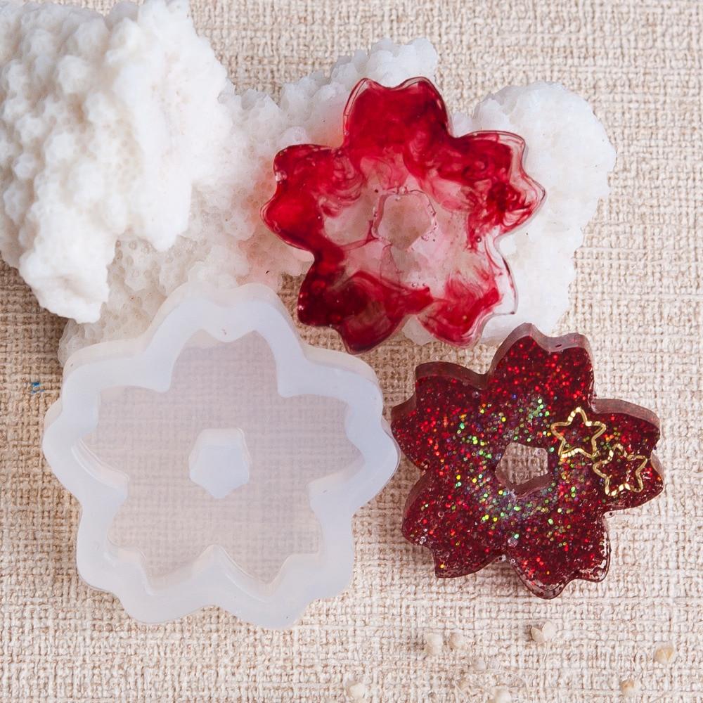 Doreen Box Silicone Resin Mold For Jewelry Making Sakura Flower White DIY Gifts Women 32mm(1 2/8