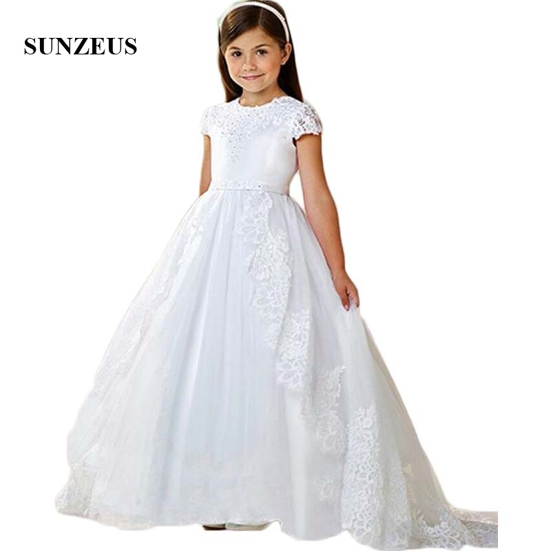 Cap Sleeve A-Line Wedding Party   Dress   for Kids Lace Appliques Sequins First Communion   Dresses     Flower     Girls     Dress   Long SF20