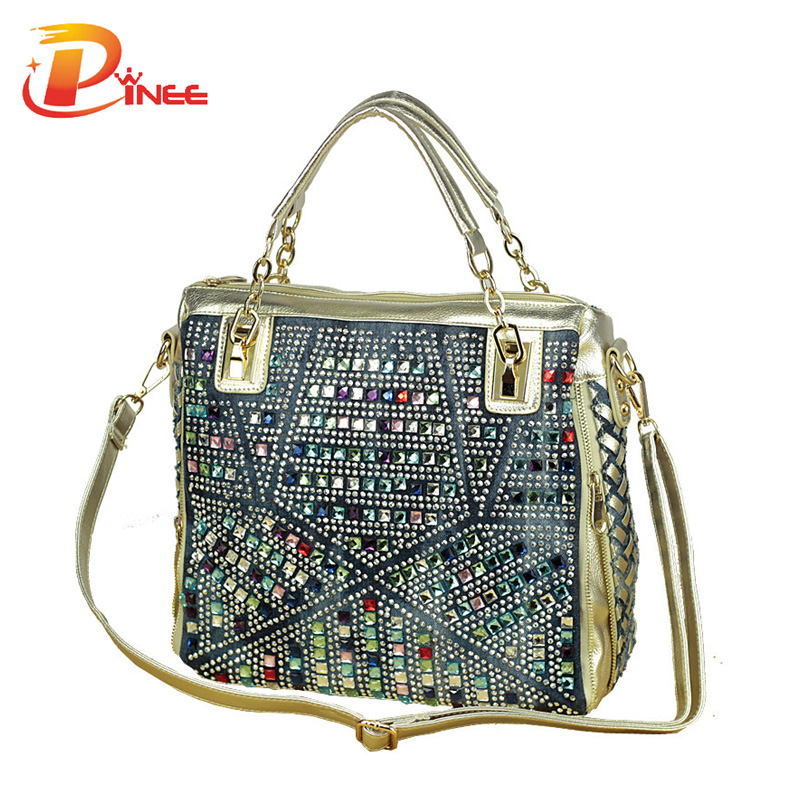 fashion brand luxury bag designer handbags high quality gold diamante woven den