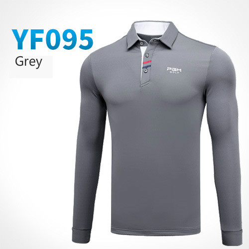 PGM Golf clothing men long sleeved Button collar Golf T-shirt autumn winter golf Sportswear breathable Quick Dry Golf polo Shirt