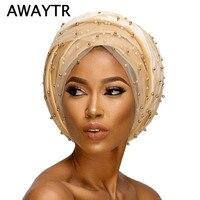 AWAYTR Nowy Velvet Nigeria Długi Turban Pałąk Zroszony Pearled Extra Hidżab Muzułmańska chusta Kobiety Turban Szef Okłady Głowy Chustę