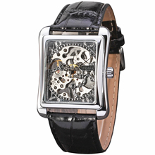 montres Rectangle main cuir