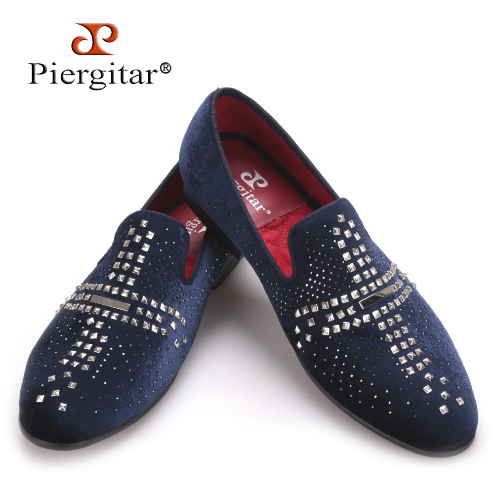 Piergitar 2017 new style Handmade men velvet shoes with luxurious Rhinestone and Rivet Prom and Banquet