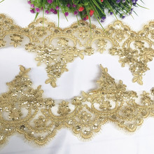 13CM width gold lace trim border cording golden trimming lace! 5 Yards/lot 2019 New costume design material nice!