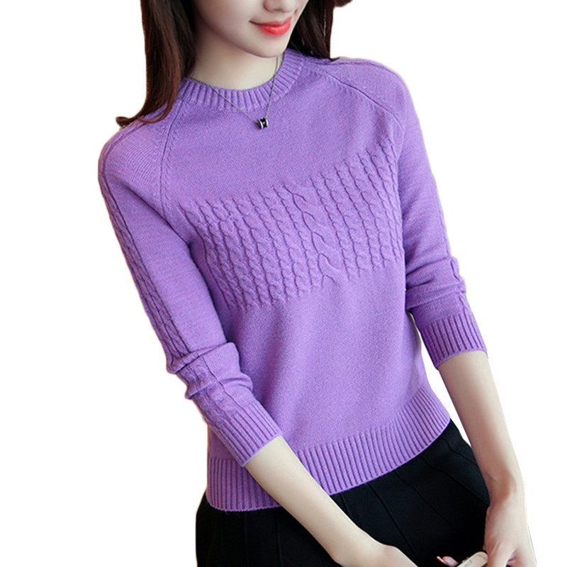 Women Pullover Sweater 2019 Autumn Winter Korean New Solid O-neck Basic Knitted Short Sweater Female Fashion Wild Knitwear AA306