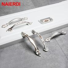 NAIERDI золотые серебряные европейские ручки для шкафа из алюминиевого сплава дверные кухонные ручки для выдвижных ящиков Мебельная ручка