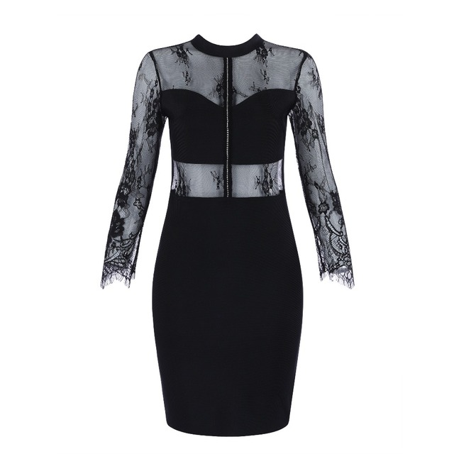 2018 women dress wholesale top quality black lace long sleeve mesh bandage  dress party dress dropshipping 2b7304735341