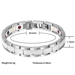Image 5 - Moocare femmes hommes bracelet en acier inoxydable mâle femelle en céramique or argent couples magnétiques Germanium bracelets réglables