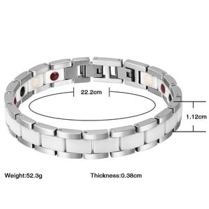 Image 5 - Moocare women men bracelet stainless steel male female ceramic gold  couples magnetic Germanium bracelets adjustable