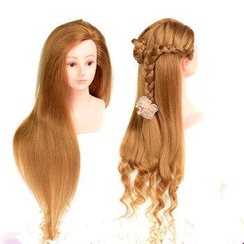 100% Real Hair Mannequin Head With Hair 26 Human Hair Training Maniqui Head For Hairdresser Hairdressing Doll Heads Manikin Head