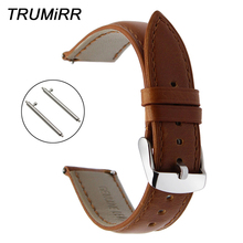 Crazy Horse Genuine Leather Watch Band Quick Release Strap for Hamilton Seiko Ci