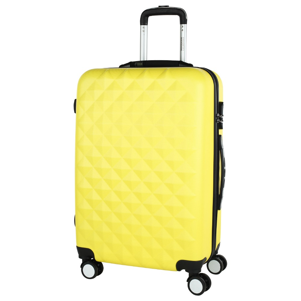 Bright yellow PROFFI TRAVEL PH8645yellow M, plastic suitcase, with built-in scales, medium combination lock fashionable suitcase with print proffi travel ph9209 m plastic medium with combination lock