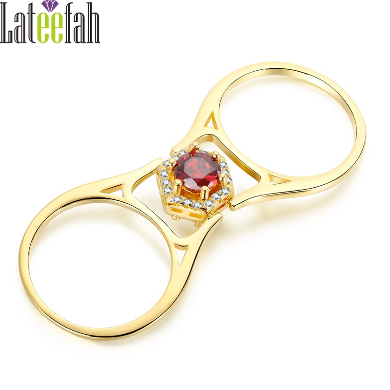 Lateefah Unique Two-sided Stones Reversible Rings Gold Color Hexagon Red and White Cubic Zirconia Lady Finger RingAnillos Mujer