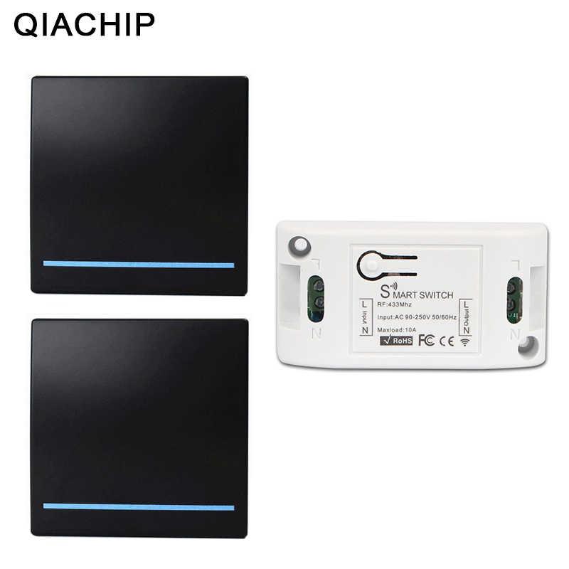 QIACHIP 433Mhz inalámbrico RF interruptor de Control remoto AC 110V 220V lámpara LED interruptores inalámbricos sala de pasillo panel de pared interruptor