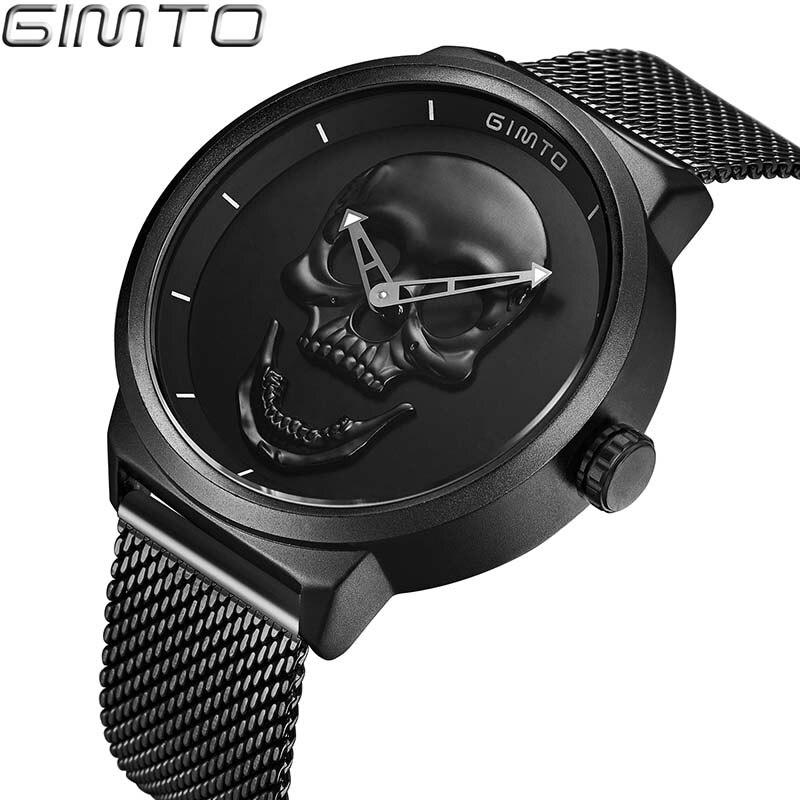 Hommes de Montre GIMTO Cool Os De Luxe Marque Creative Horloge En Acier Noir Mâle Montre Crâne Style Quartz Hommes Montres relogio masculino
