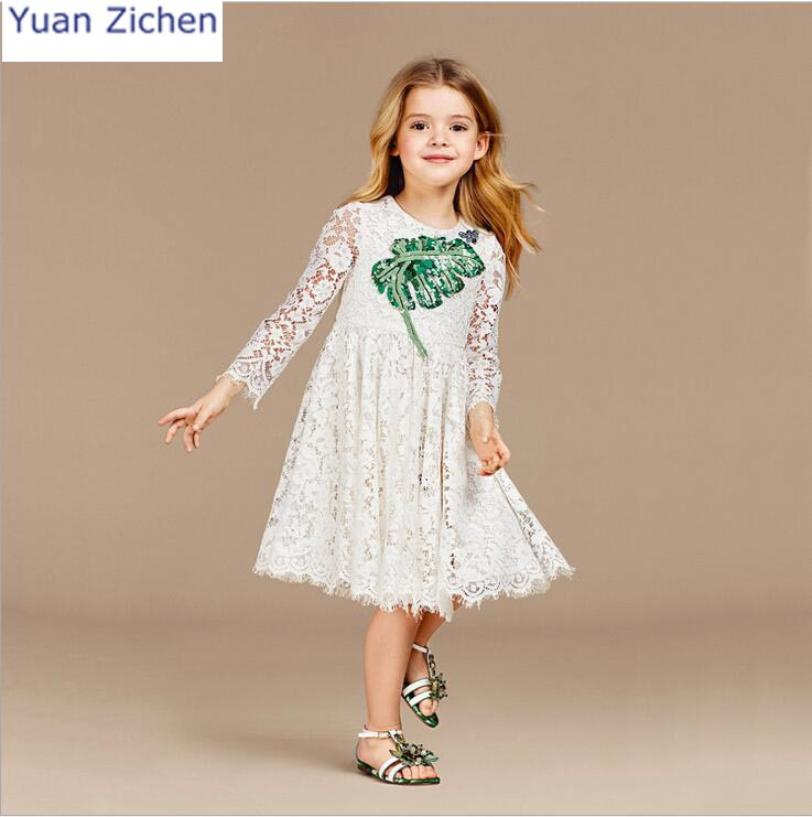 2018 New Brand Baby Dresses Long Sleeve Embroidery Party Prom Lace Bebes Girls Clothes Fashion Toddler Clothing Children Dresses