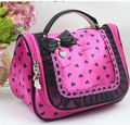 New Fashion large capacity portable women's bow cosmetic Heart Print Cases Lace Red Pink Satin Cloth Handbag cute wash bag