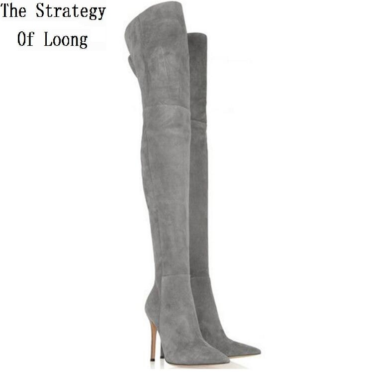 2016 New Arrival Women Autumn Winter Thin High Heel Genuine Leather Pointed Toe Fashion Over The Knee Boots Plus Size 41-42 2018 new arrival fashion winter shoe genuine leather pointed toe high heel handmade party runway zipper women mid calf boots l11