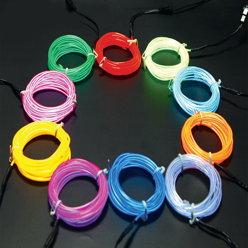Online Shop 5M 3V Flexible Neon Light Glow Wire Rope Tape Cable ...