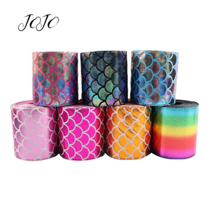 JOJO BOWS 75mm 2y Leather Ribbon Mermaid Printed Tape For Needlework Handmade Craft Supplies DIY Hair Bows Home Party Decoration(China)