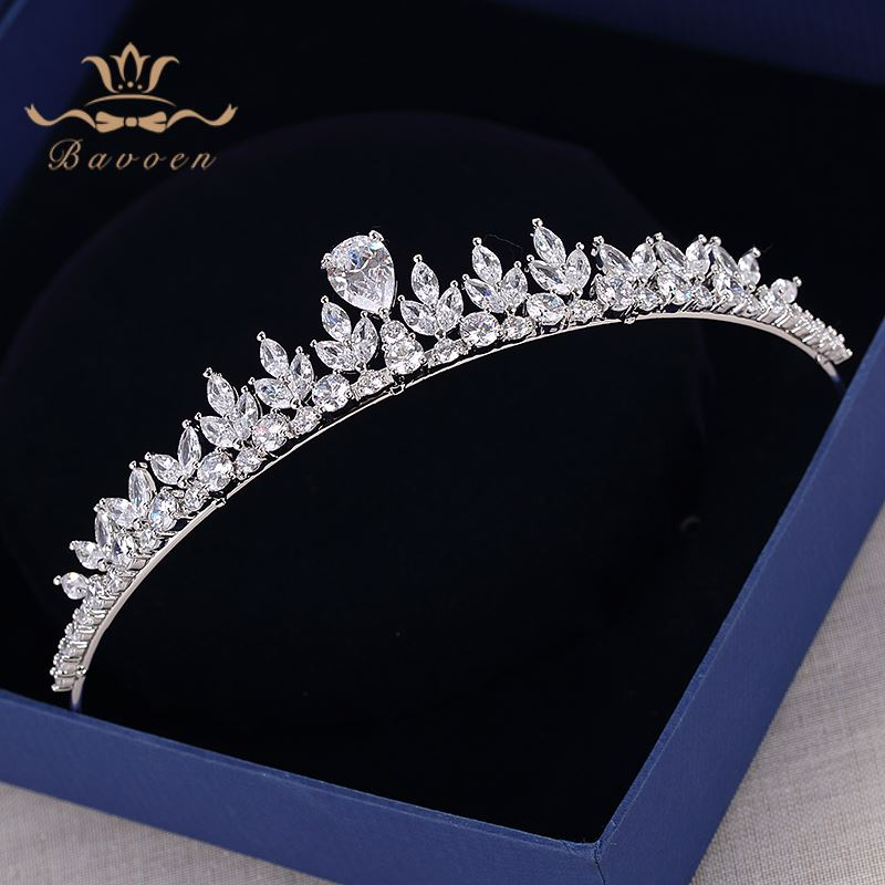 Bavoen Sparkling Zircon Wedding Dress Hair Accessories Silver Brides Crowns Tiaras Plated Crystal Hairbands Evening Hair Jewelry