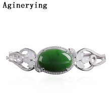 925 Sterling Silver Fidelity natural Certificate Green Hetian jade Bracelet simple fine jewelry for women party natural gemstone