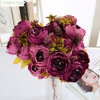 The Peony Flower Simulation Core Peony Colored Suit European High Grade Wedding Decoration Autumn Peony Flowers