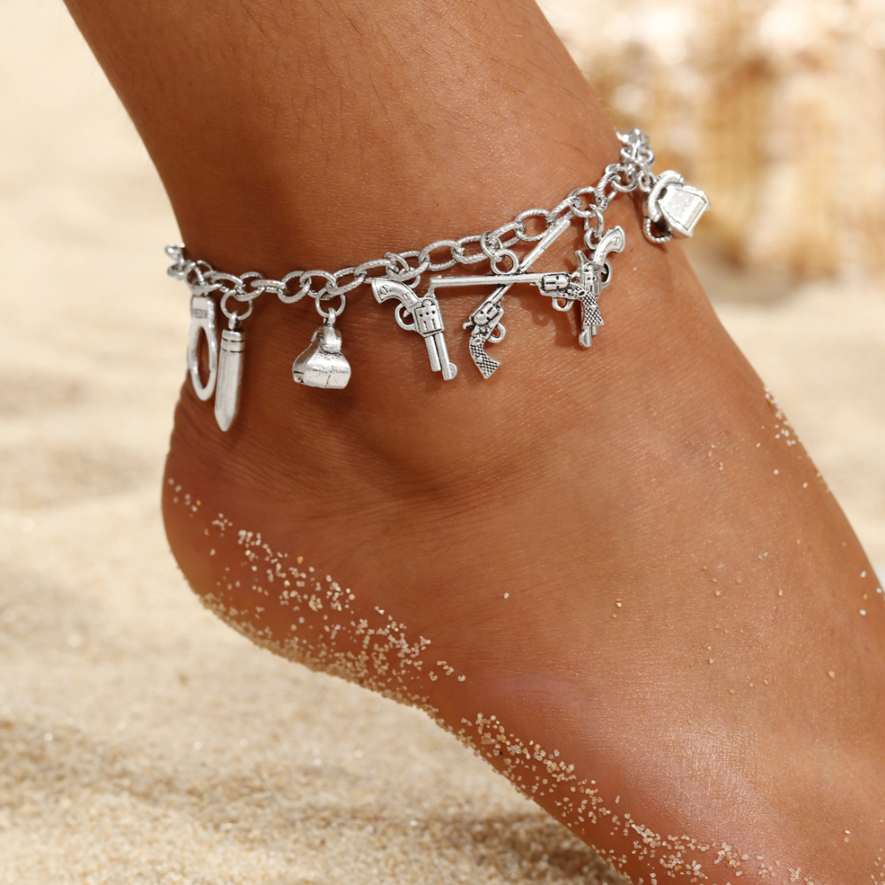 2020 Women Anklets Simple Skull Gun Pendant Barefoot Crochet Sandals Foot Jewelry Summer Foot Legs Bracelet Anklets