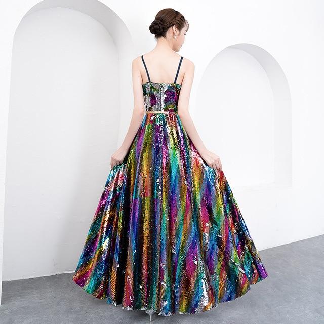 f79d7eba2e US $99.99 |Women's Long Sequined Bling Bling Dress Rainbow Glitter Longer  Party Dress Elegant Rainbow Dresses Empire Waist Camin Dresses-in Dresses  ...