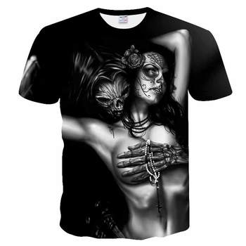 3D printing Skull T-shirts Man's T-shirt Short Sleeve Tees Fashion Woman Streetwear Mens Coats  tshirts European Summer 2019 New