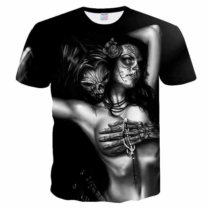 Impressão 3d crânio t-shirts homem de manga curta t moda mulher streetwear homens casacos tshirts verão europeu 2019 novo